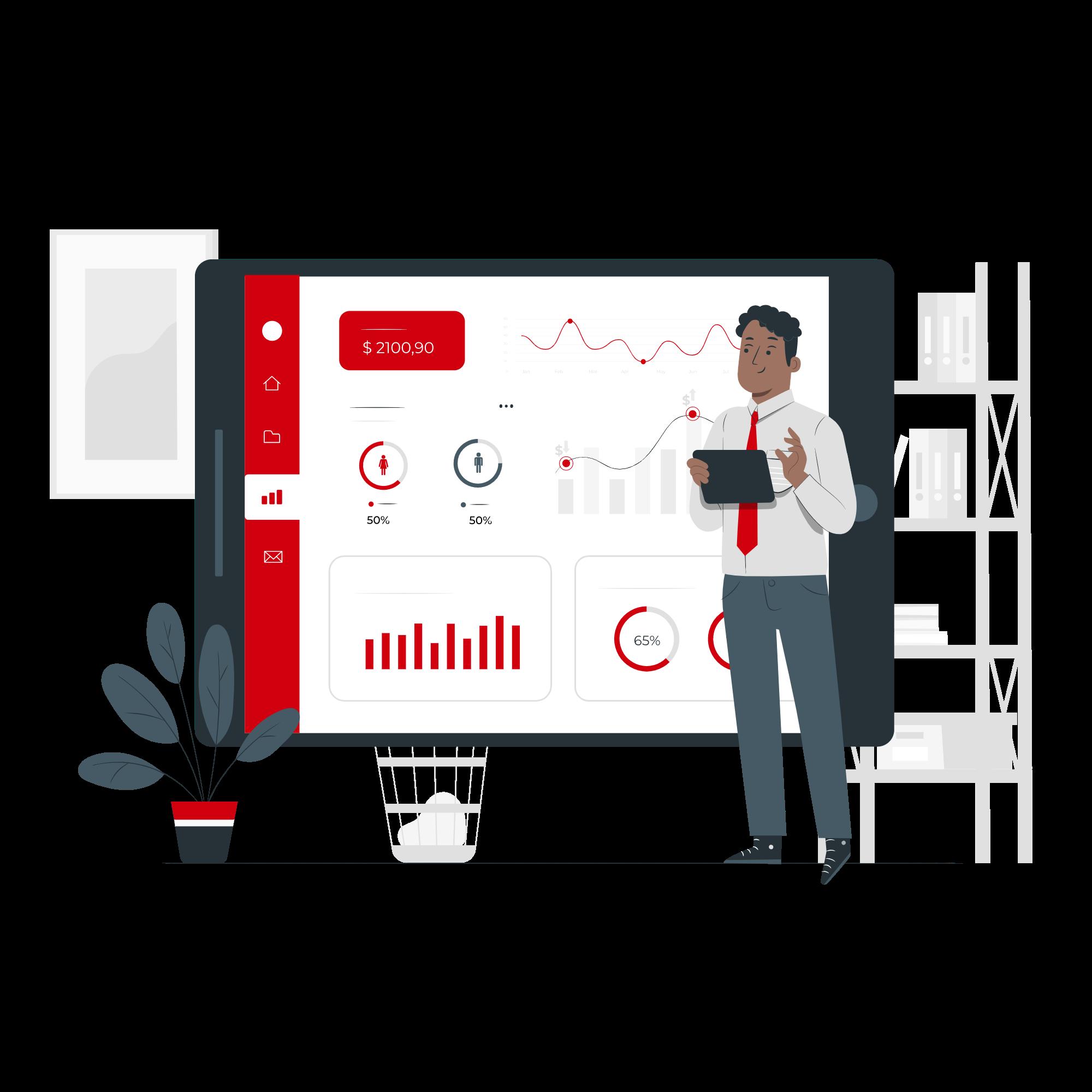 費用対効果を可視化してクライアントに説明しているイメージイラスト